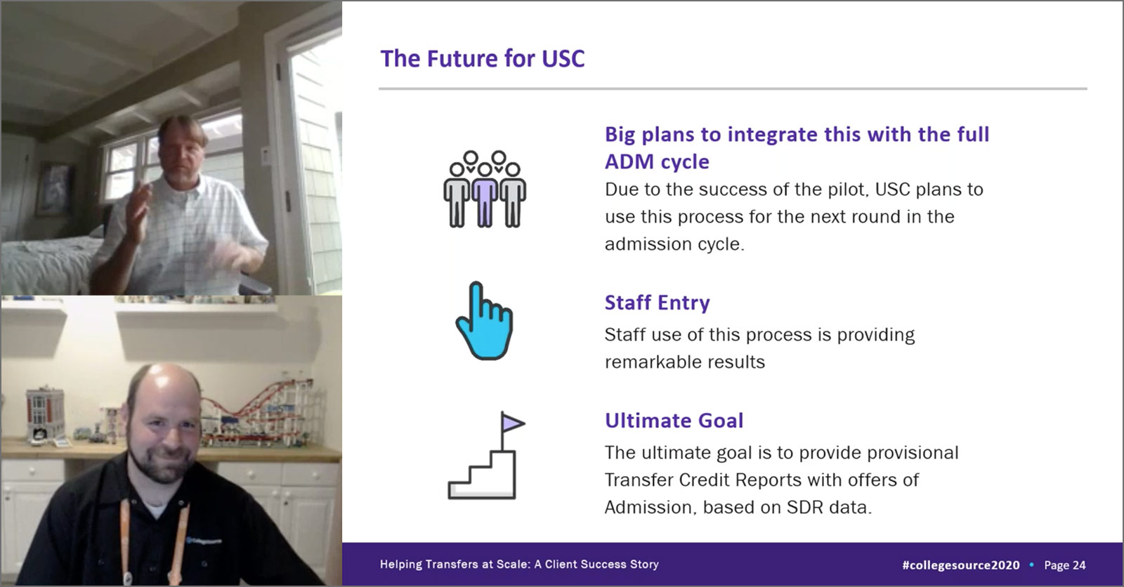 Screenshot of USC and CollegeSource Presentation at 2020 CollegeSource Virtual Conference
