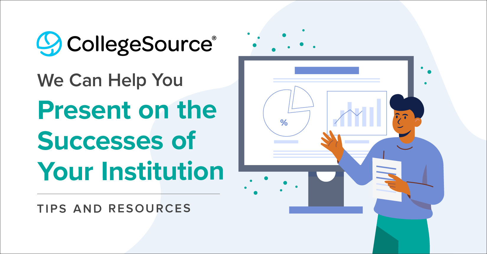 Man by computer presenting - CollegeSource can help you present on successes of your institution