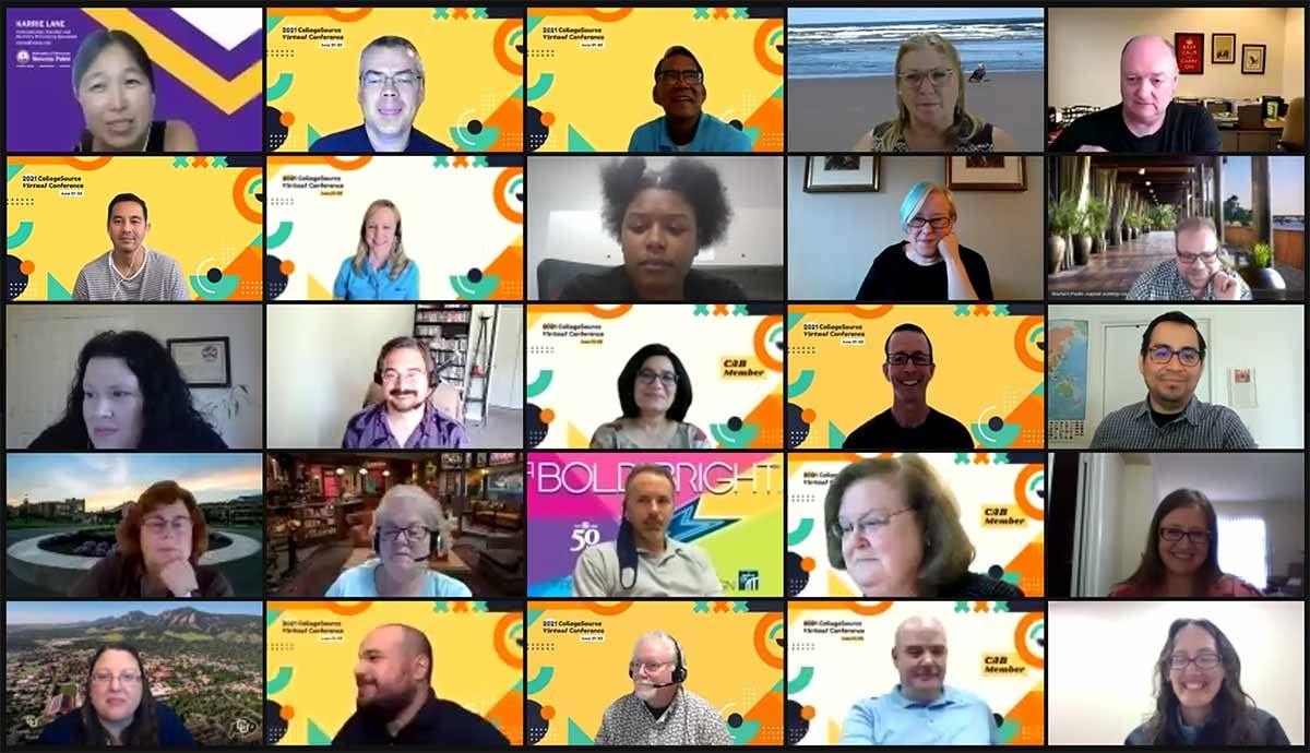 Networking participants on Zoom at 2021 CollegeSource Virtual Conference